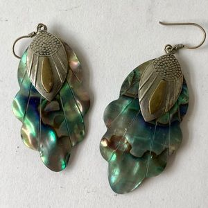 Vintage dangle abalone shell earrings